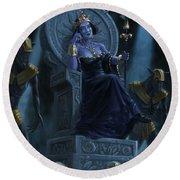 Death Queen On Throne With Skulls Round Beach Towel