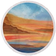 Round Beach Towel featuring the painting Death Valley by Ellen Levinson