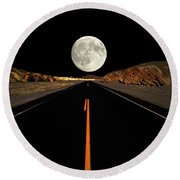 Death Valley Moon Rise Round Beach Towel