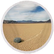 Round Beach Towel featuring the photograph Death Valley Ractrack by Breck Bartholomew
