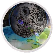 Round Beach Towel featuring the drawing Deathstar Illustration by Justin Moore