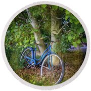 Round Beach Towel featuring the photograph Deb's Schwinn I by Craig J Satterlee