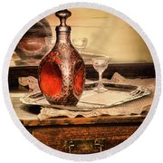 Decanter And Glass Round Beach Towel by Jill Battaglia