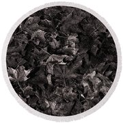 Decayed Autumn Leaves On The Ground Copper Tone Round Beach Towel