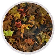 Decayed Autumn Leaves On The Ground Round Beach Towel
