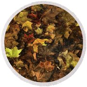 Decayed Autumn Leaves On The Ground Strong Stroke Round Beach Towel
