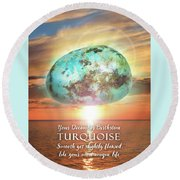 December Birthstone Turquoise Round Beach Towel
