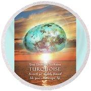 December Birthstone Turquoise Round Beach Towel