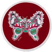 December Butterfly Round Beach Towel