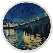 December Lights At The Old Bridge Round Beach Towel by Nop Briex