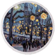 Round Beach Towel featuring the painting December Lights At The Our Lady Square Maastricht 1 by Nop Briex