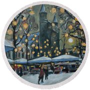 December Lights At The Our Lady Square Maastricht 2 Round Beach Towel
