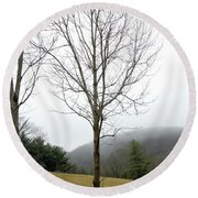 December Mist Round Beach Towel