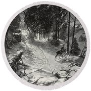 December Night Snow Covered Wood Round Beach Towel