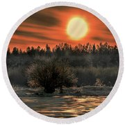 December Sun #f3 Round Beach Towel