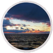 December Sunset, Wolfe Island, Ca. View From Tibbetts Point Lighthouse Round Beach Towel