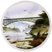 Deception Pass Bridge Round Beach Towel