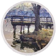 Deck At Tonawanda Canal Round Beach Towel