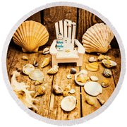 Deckchairs And Seashells Round Beach Towel