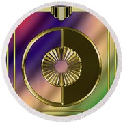 Round Beach Towel featuring the digital art Deco 27 by Chuck Staley