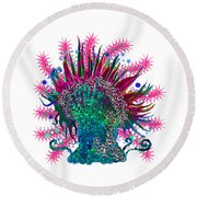 Round Beach Towel featuring the digital art Deco Anemone by Adria Trail