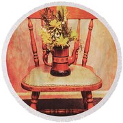 Decorated Flower Bunch On Old Wooden Chair Round Beach Towel