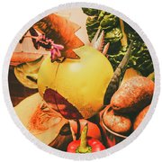 Decorated Organic Vegetables Round Beach Towel