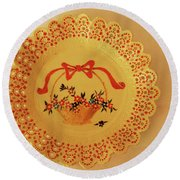 Decorated Plate With A Basket And Flowers Round Beach Towel by Itzhak Richter