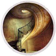 Decorated Spiral Staircase  Round Beach Towel