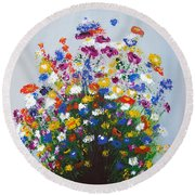Round Beach Towel featuring the painting Impressionist Wildflower Garden Painting A103017 by Mas Art Studio