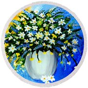 Round Beach Towel featuring the painting Decorative Floral Acrylic Painting G62017 by Mas Art Studio