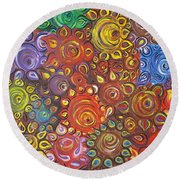 Decorative Flowers Round Beach Towel by Rita Fetisov