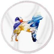 Decorative Husky Abstract O1015e Round Beach Towel