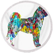 Decorative Husky Abstract O1015h Round Beach Towel