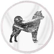 Decorative Husky Abstract O1015j Round Beach Towel