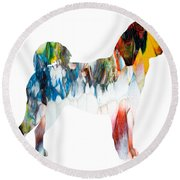 Decorative Husky Abstract O1015l Round Beach Towel