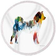 Decorative Husky Abstract O1015l Round Beach Towel