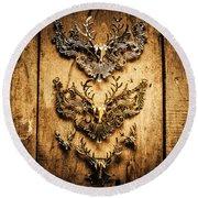 Decorative Moose Emblems Round Beach Towel