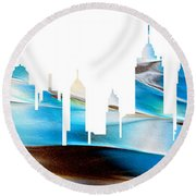 Decorative Skyline Abstract New York P1015a Round Beach Towel