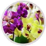 Round Beach Towel featuring the photograph Decorative Orchids Still Life B82418 by Mas Art Studio