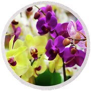 Round Beach Towel featuring the photograph Decorative Orchids Still Life C82418 by Mas Art Studio