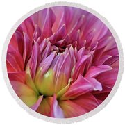 Decorative Pink Dahlia Round Beach Towel