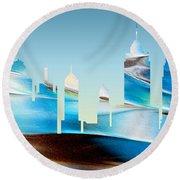 Decorative Skyline Abstract New York P1015b Round Beach Towel