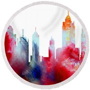 Decorative Skyline Abstract New York P1015c Round Beach Towel