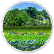 Decorative Texas Homestead Bluebonnets Meadow Mixed Media Photo H32517 Round Beach Towel