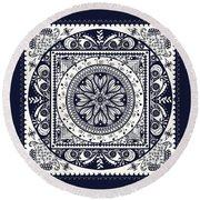 Deep Blue Classic Mandala Round Beach Towel