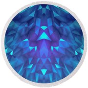 Deep Blue Collosal Low Poly Triangle Pattern  Modern Abstract Cubism  Design Round Beach Towel
