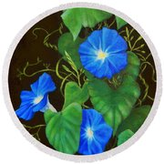 Deep Blue Morning Glory Round Beach Towel