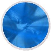 Deep Blue Round Beach Towel by Yul Olaivar