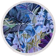 Round Beach Towel featuring the painting Deep Dreams by Mindy Newman